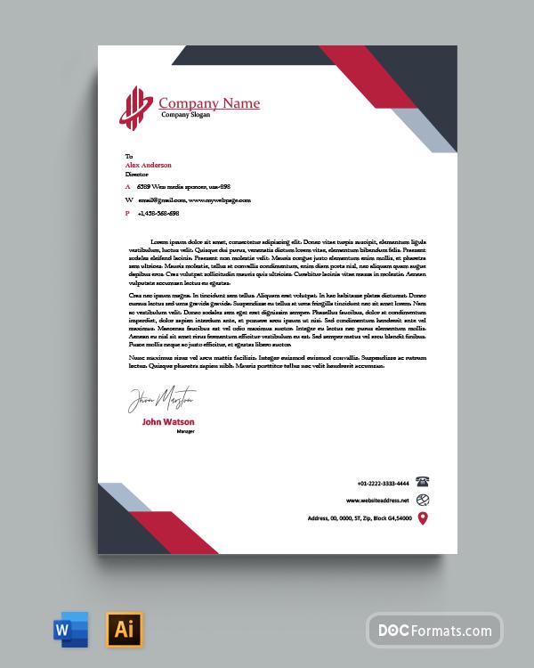 Red & Black Triangle Graphic Design Letterhead Template
